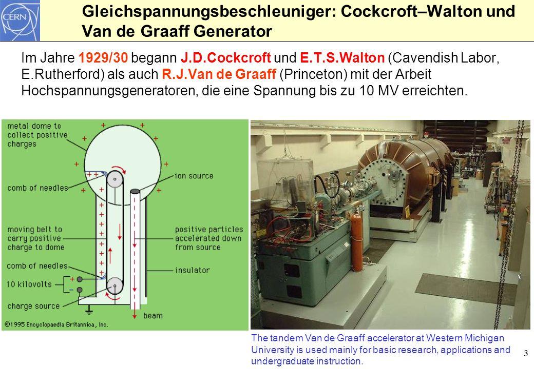3 Gleichspannungsbeschleuniger: Cockcroft–Walton und Van de Graaff Generator Im Jahre 1929/30 begann J.D.Cockcroft und E.T.S.Walton (Cavendish Labor,