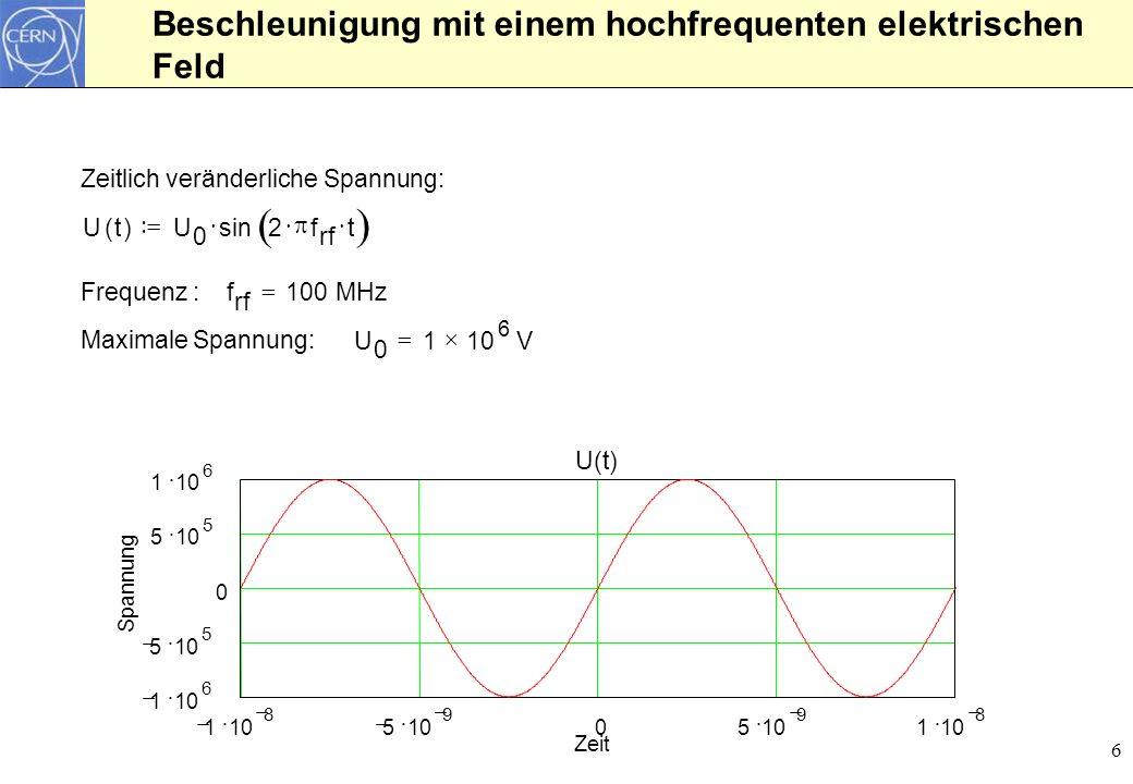 6 Beschleunigung mit einem hochfrequenten elektrischen Feld Zeitlich veränderliche Spannung: Ut()U 0 sin2 f rf t Frequenz : f rf 100MHz Maximale Spann