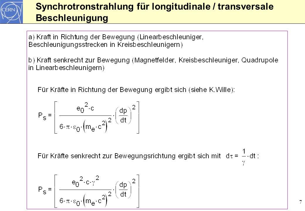 7 Synchrotronstrahlung für longitudinale / transversale Beschleunigung