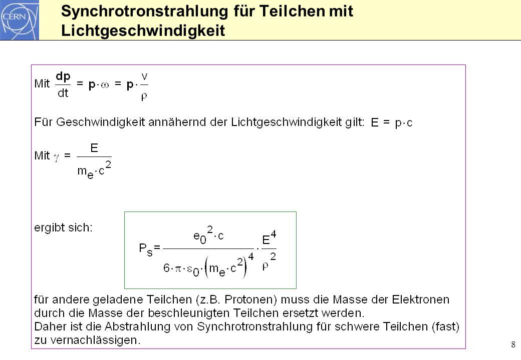 8 Synchrotronstrahlung für Teilchen mit Lichtgeschwindigkeit