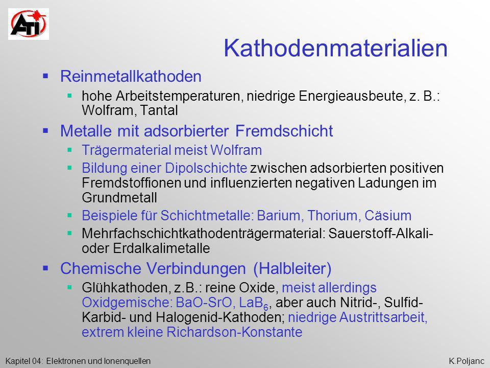 Kapitel 04: Elektronen und IonenquellenK.Poljanc Kathodenmaterialien Reinmetallkathoden hohe Arbeitstemperaturen, niedrige Energieausbeute, z. B.: Wol