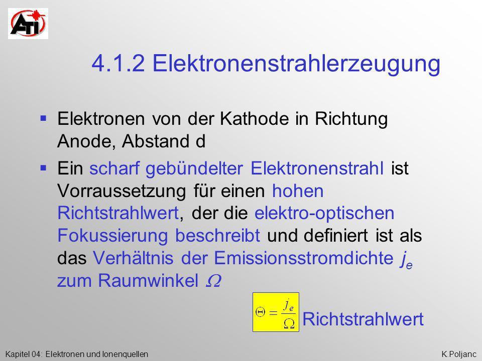 Kapitel 04: Elektronen und IonenquellenK.Poljanc 4.1.2 Elektronenstrahlerzeugung Elektronen von der Kathode in Richtung Anode, Abstand d Ein scharf ge