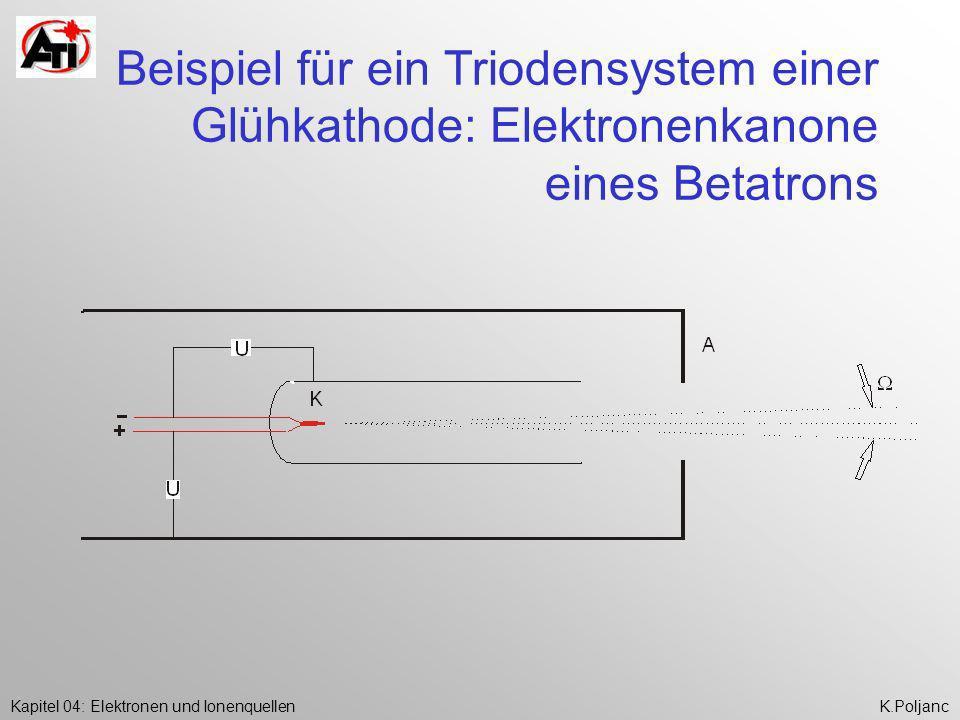Kapitel 04: Elektronen und IonenquellenK.Poljanc Beispiel für ein Triodensystem einer Glühkathode: Elektronenkanone eines Betatrons