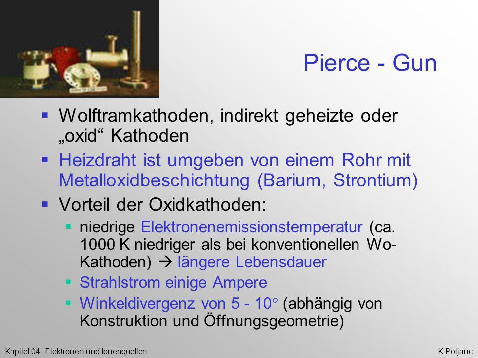 Kapitel 04: Elektronen und IonenquellenK.Poljanc Pierce - Gun Wolftramkathoden, indirekt geheizte oder oxid Kathoden Heizdraht ist umgeben von einem R