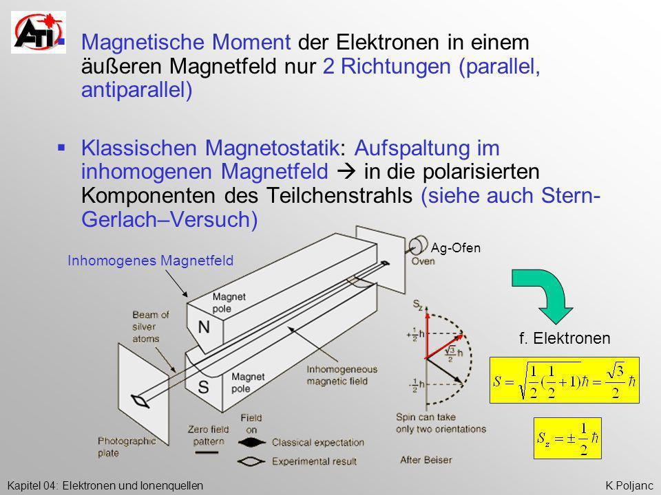 Kapitel 04: Elektronen und IonenquellenK.Poljanc Magnetische Moment der Elektronen in einem äußeren Magnetfeld nur 2 Richtungen (parallel, antiparalle