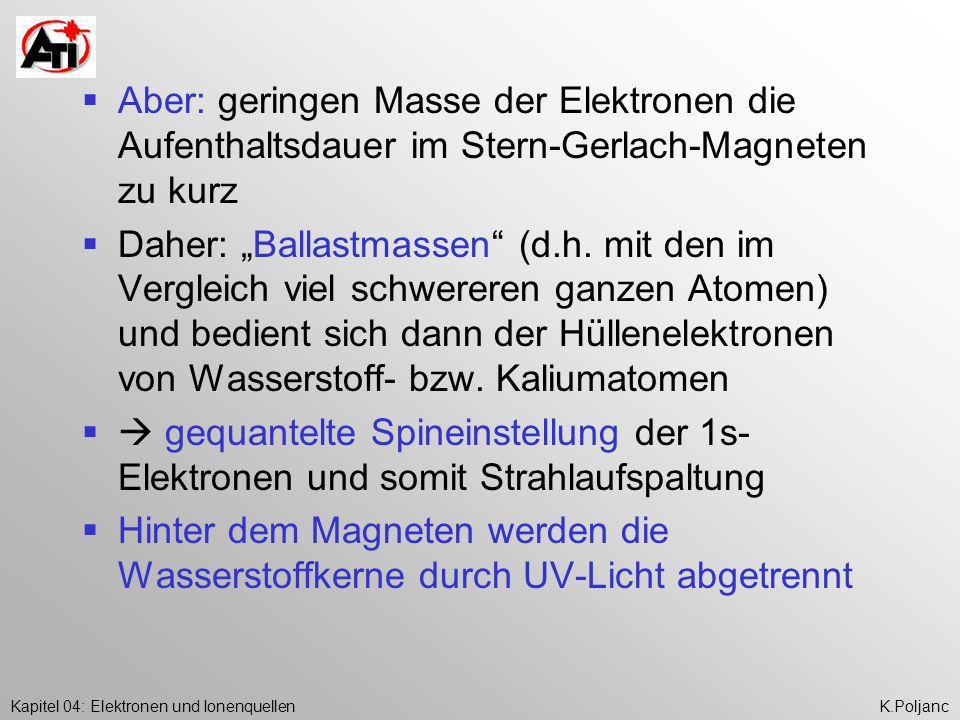 Kapitel 04: Elektronen und IonenquellenK.Poljanc Aber: geringen Masse der Elektronen die Aufenthaltsdauer im Stern-Gerlach-Magneten zu kurz Daher: Bal