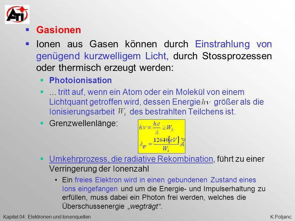 Kapitel 04: Elektronen und IonenquellenK.Poljanc Gasionen Ionen aus Gasen können durch Einstrahlung von genügend kurzwelligem Licht, durch Stossprozes