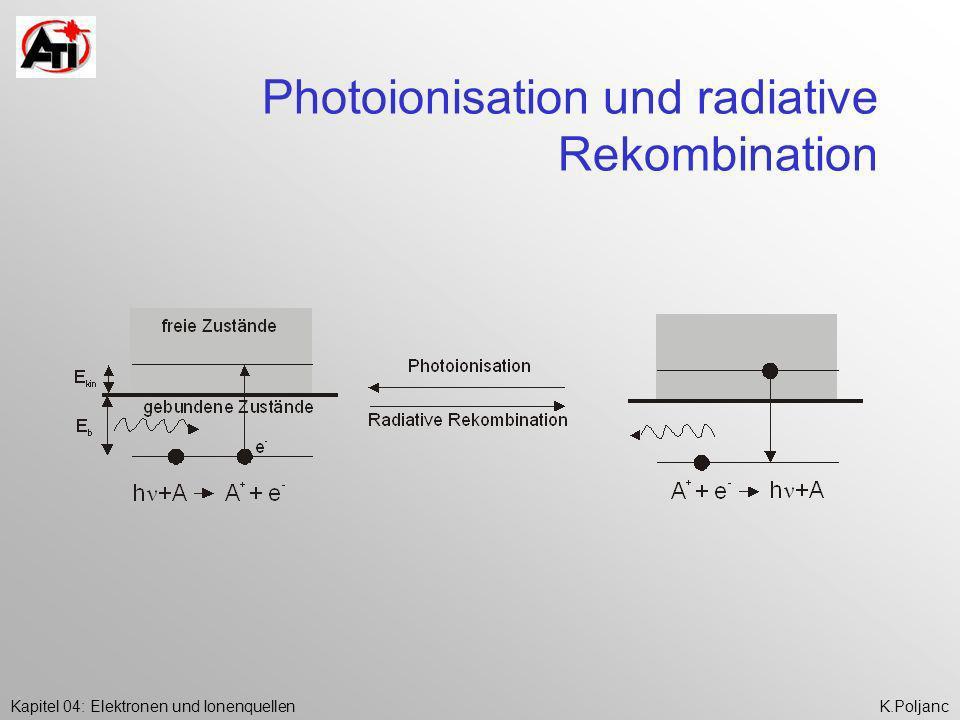 Kapitel 04: Elektronen und IonenquellenK.Poljanc Photoionisation und radiative Rekombination