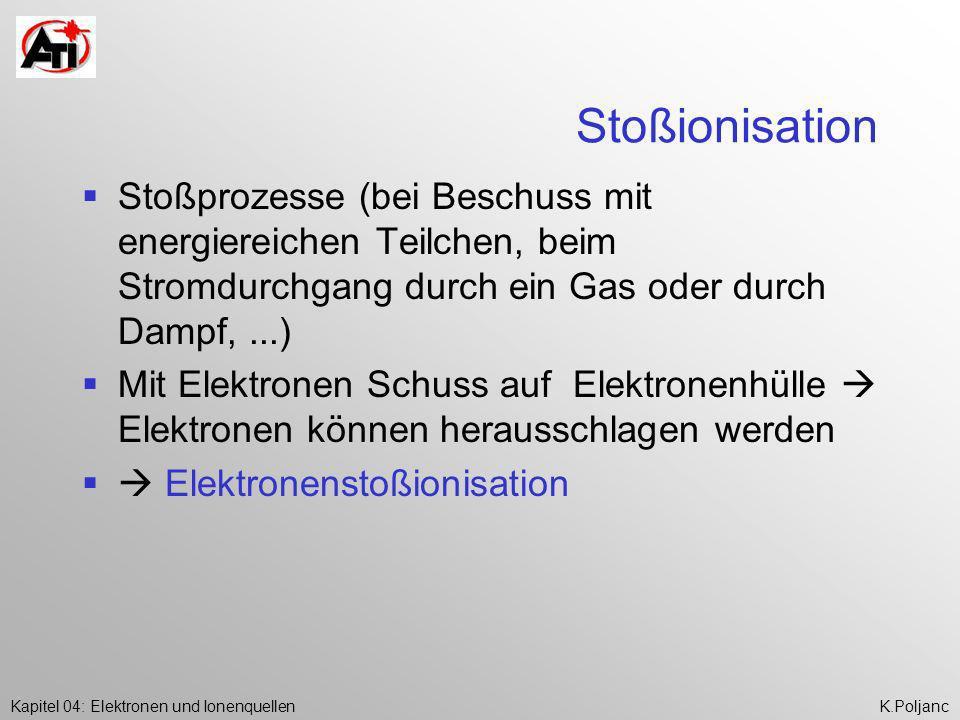 Kapitel 04: Elektronen und IonenquellenK.Poljanc Stoßionisation Stoßprozesse (bei Beschuss mit energiereichen Teilchen, beim Stromdurchgang durch ein