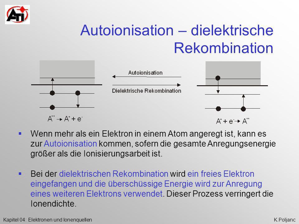 Kapitel 04: Elektronen und IonenquellenK.Poljanc Autoionisation – dielektrische Rekombination Wenn mehr als ein Elektron in einem Atom angeregt ist, k