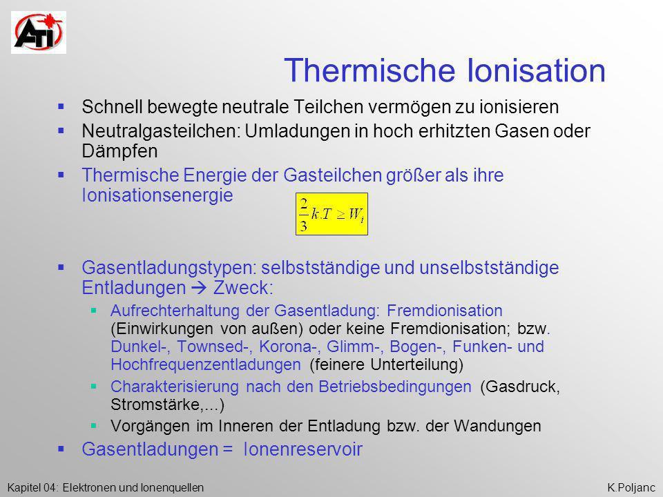 Kapitel 04: Elektronen und IonenquellenK.Poljanc Thermische Ionisation Schnell bewegte neutrale Teilchen vermögen zu ionisieren Neutralgasteilchen: Um