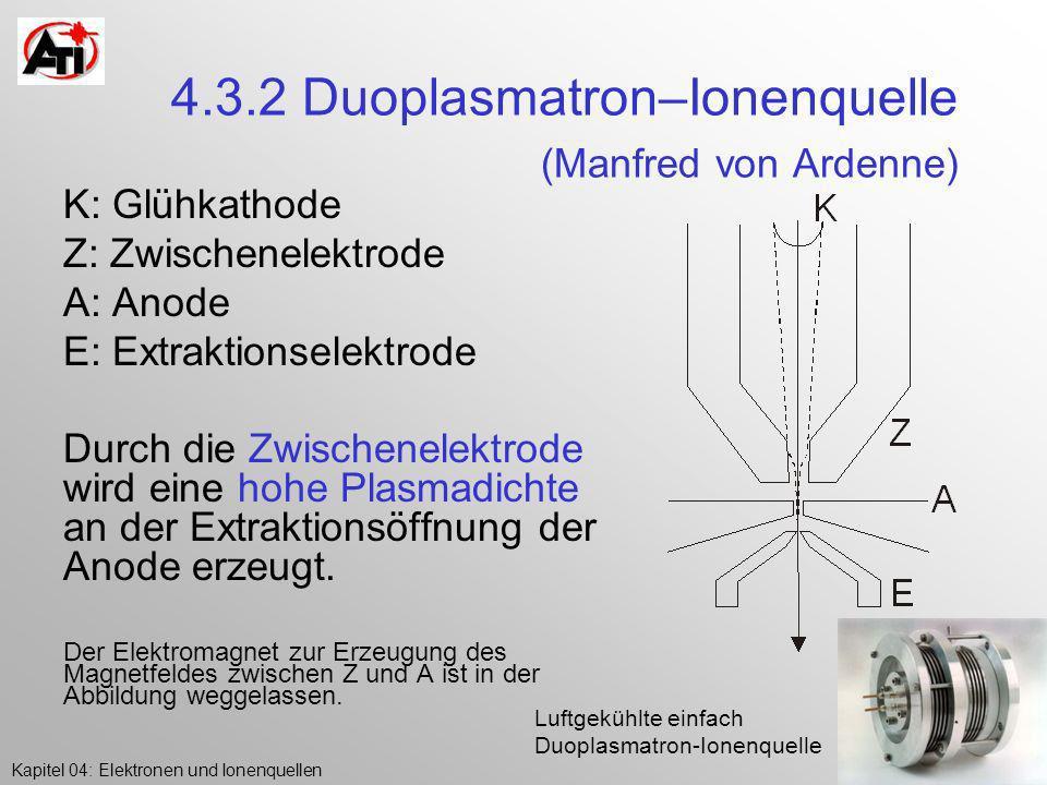 Kapitel 04: Elektronen und IonenquellenK.Poljanc 4.3.2 Duoplasmatron–Ionenquelle (Manfred von Ardenne) K: Glühkathode Z: Zwischenelektrode A: Anode E:
