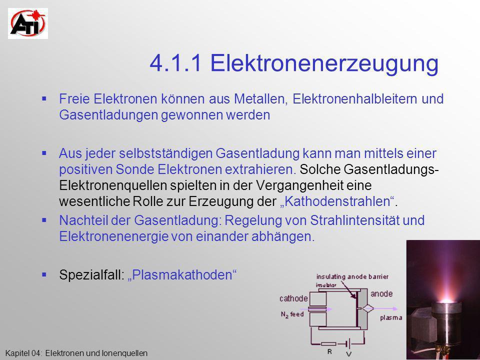 Kapitel 04: Elektronen und IonenquellenK.Poljanc 4.1.1 Elektronenerzeugung Freie Elektronen können aus Metallen, Elektronenhalbleitern und Gasentladun