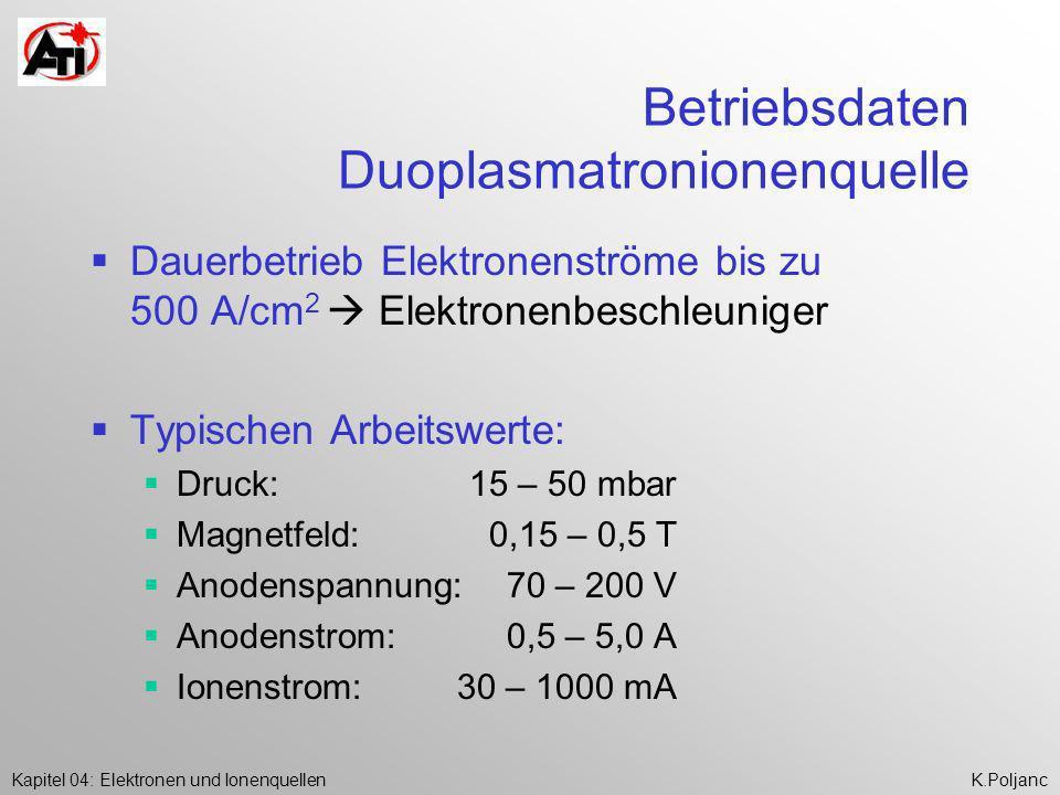 Kapitel 04: Elektronen und IonenquellenK.Poljanc Betriebsdaten Duoplasmatronionenquelle Dauerbetrieb Elektronenströme bis zu 500 A/cm 2 Elektronenbesc