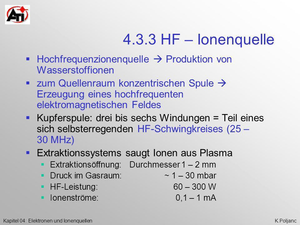 Kapitel 04: Elektronen und IonenquellenK.Poljanc 4.3.3 HF – Ionenquelle Hochfrequenzionenquelle Produktion von Wasserstoffionen zum Quellenraum konzen