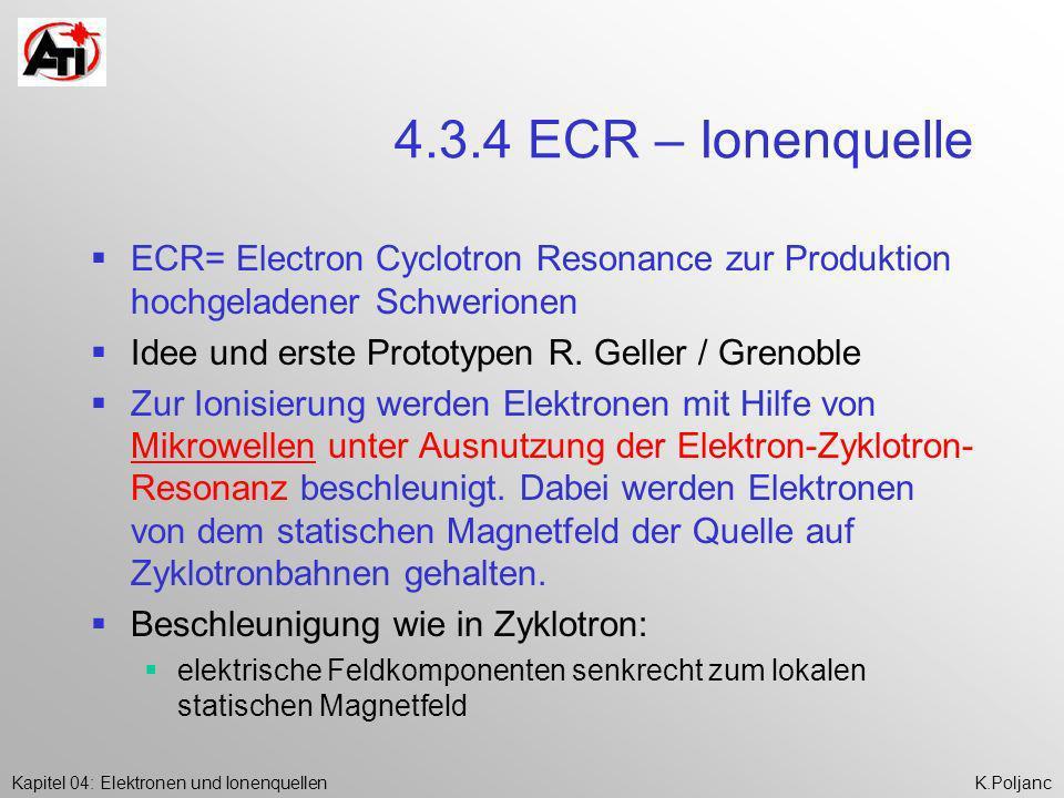 Kapitel 04: Elektronen und IonenquellenK.Poljanc 4.3.4 ECR – Ionenquelle ECR= Electron Cyclotron Resonance zur Produktion hochgeladener Schwerionen Id