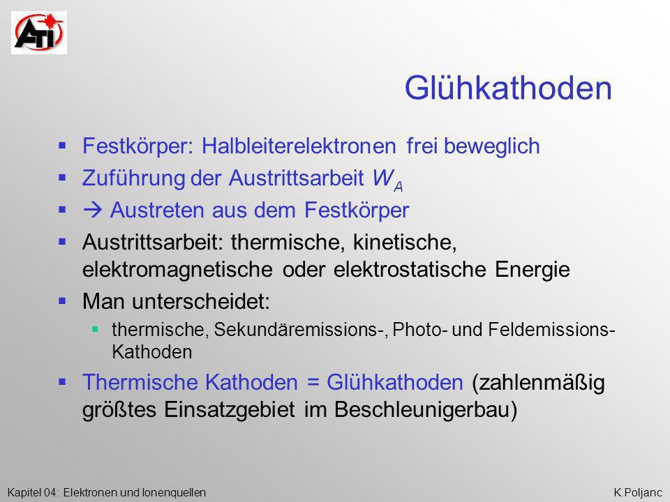 Kapitel 04: Elektronen und IonenquellenK.Poljanc Glühkathoden Festkörper: Halbleiterelektronen frei beweglich Zuführung der Austrittsarbeit W A Austre