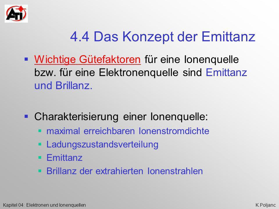 Kapitel 04: Elektronen und IonenquellenK.Poljanc 4.4 Das Konzept der Emittanz Wichtige Gütefaktoren für eine Ionenquelle bzw. für eine Elektronenquell