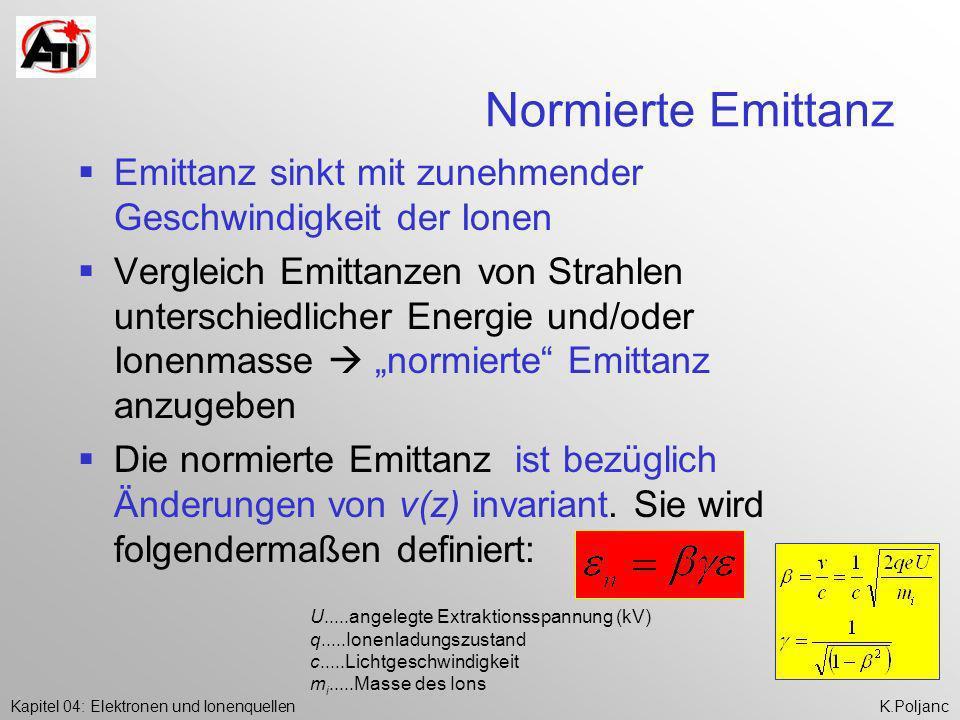 Kapitel 04: Elektronen und IonenquellenK.Poljanc Normierte Emittanz Emittanz sinkt mit zunehmender Geschwindigkeit der Ionen Vergleich Emittanzen von