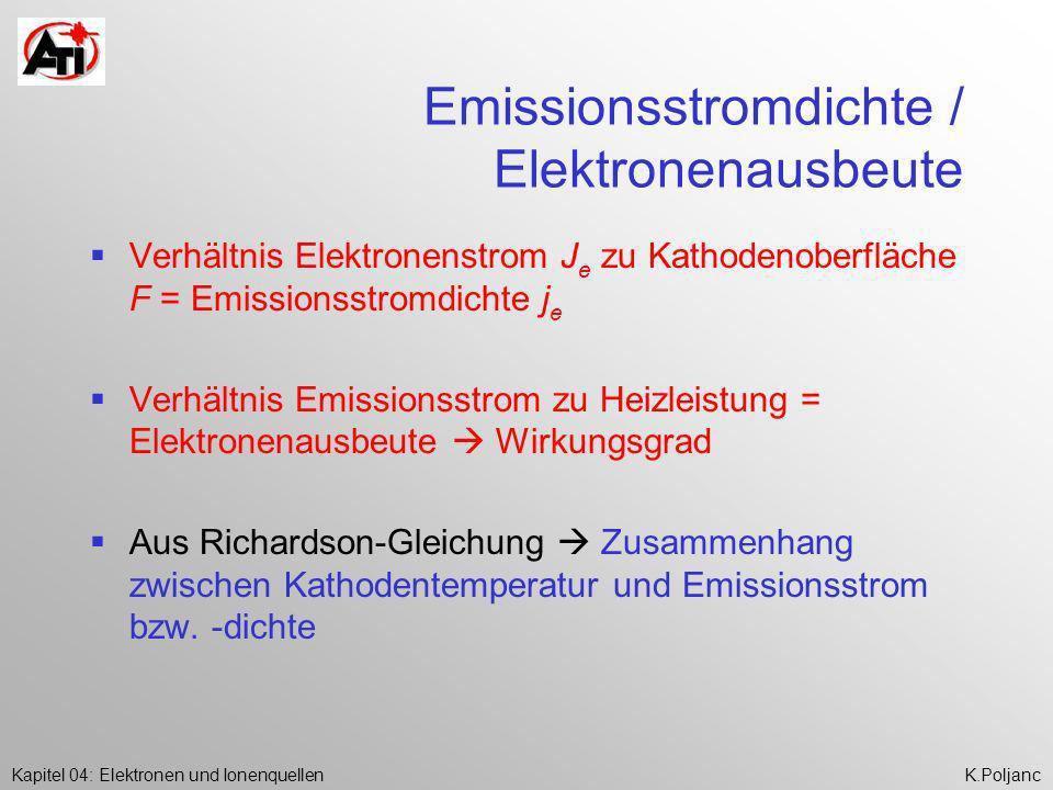 Kapitel 04: Elektronen und IonenquellenK.Poljanc Emissionsstromdichte / Elektronenausbeute Verhältnis Elektronenstrom J e zu Kathodenoberfläche F = Em
