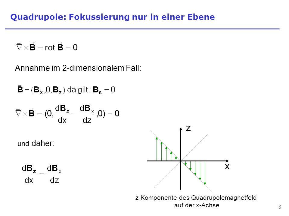8 Quadrupole: Fokussierung nur in einer Ebene Annahme im 2-dimensionalem Fall: und daher: z x z-Komponente des Quadrupolemagnetfeld auf der x-Achse