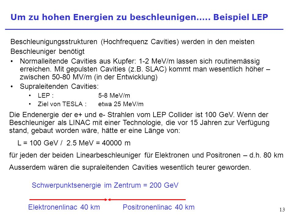 13 Um zu hohen Energien zu beschleunigen….. Beispiel LEP Beschleunigungsstrukturen (Hochfrequenz Cavities) werden in den meisten Beschleuniger benötig