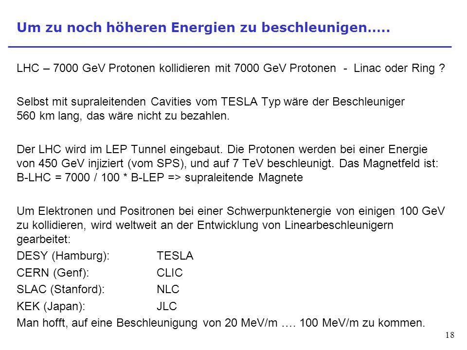 18 Um zu noch höheren Energien zu beschleunigen….. LHC – 7000 GeV Protonen kollidieren mit 7000 GeV Protonen - Linac oder Ring ? Selbst mit supraleite
