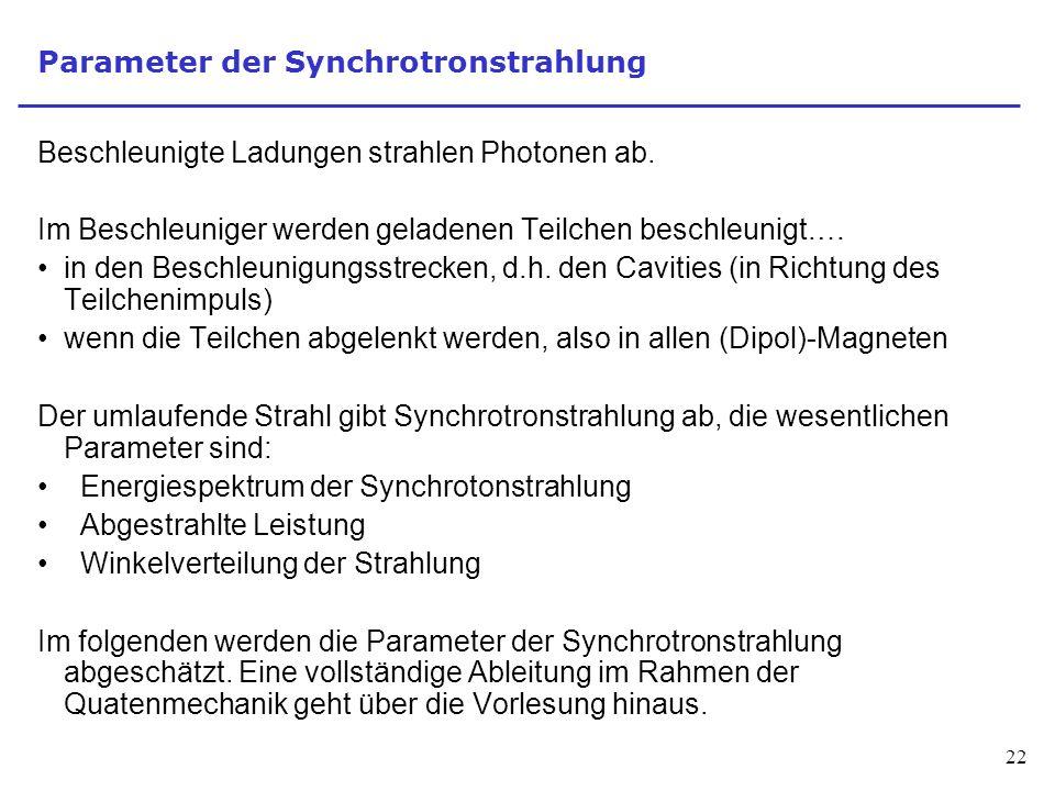 22 Parameter der Synchrotronstrahlung Beschleunigte Ladungen strahlen Photonen ab.
