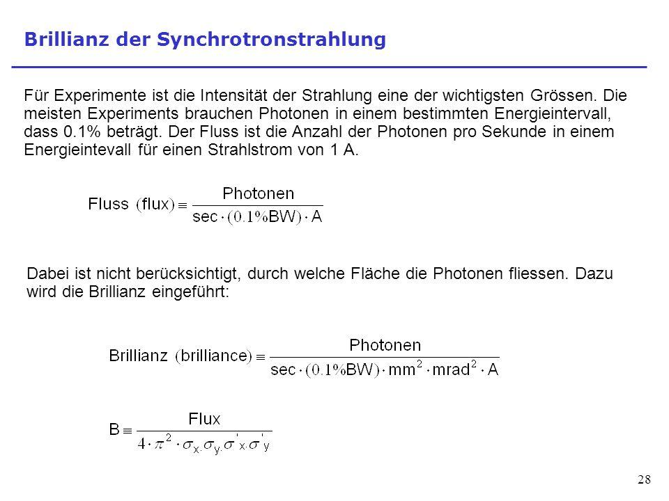 28 Brillianz der Synchrotronstrahlung Für Experimente ist die Intensität der Strahlung eine der wichtigsten Grössen. Die meisten Experiments brauchen
