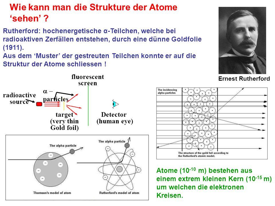 Ernest Rutherford Wie kann man die Strukture der Atome sehen ? Rutherford: hochenergetische α-Teilchen, welche bei radioaktiven Zerfällen entstehen, d
