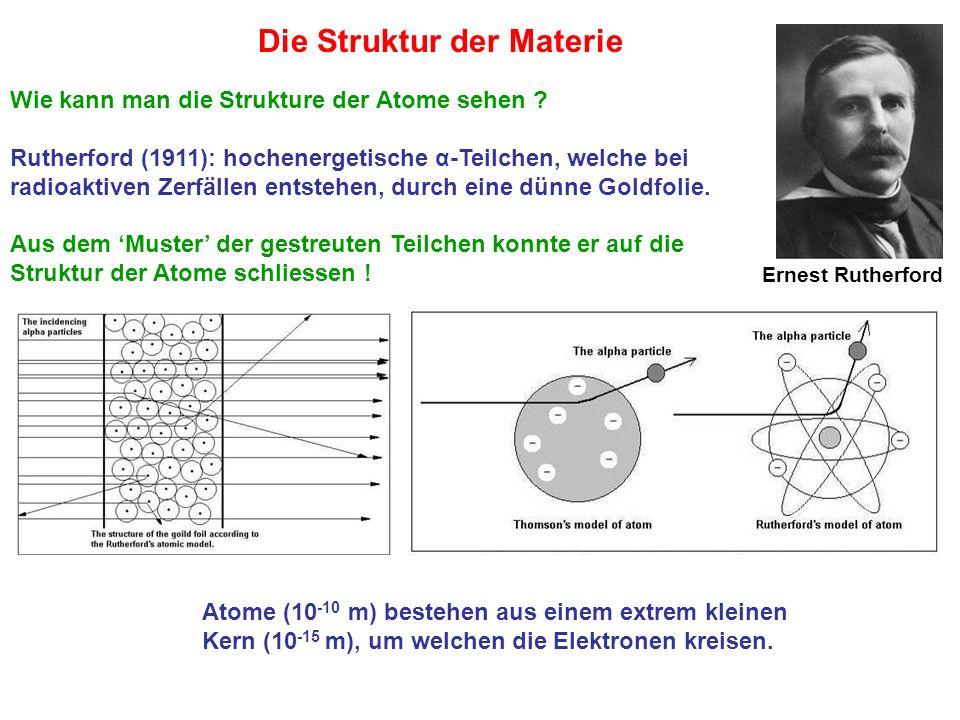 Ernest Rutherford Wie kann man die Strukture der Atome sehen ? Rutherford (1911): hochenergetische α-Teilchen, welche bei radioaktiven Zerfällen entst