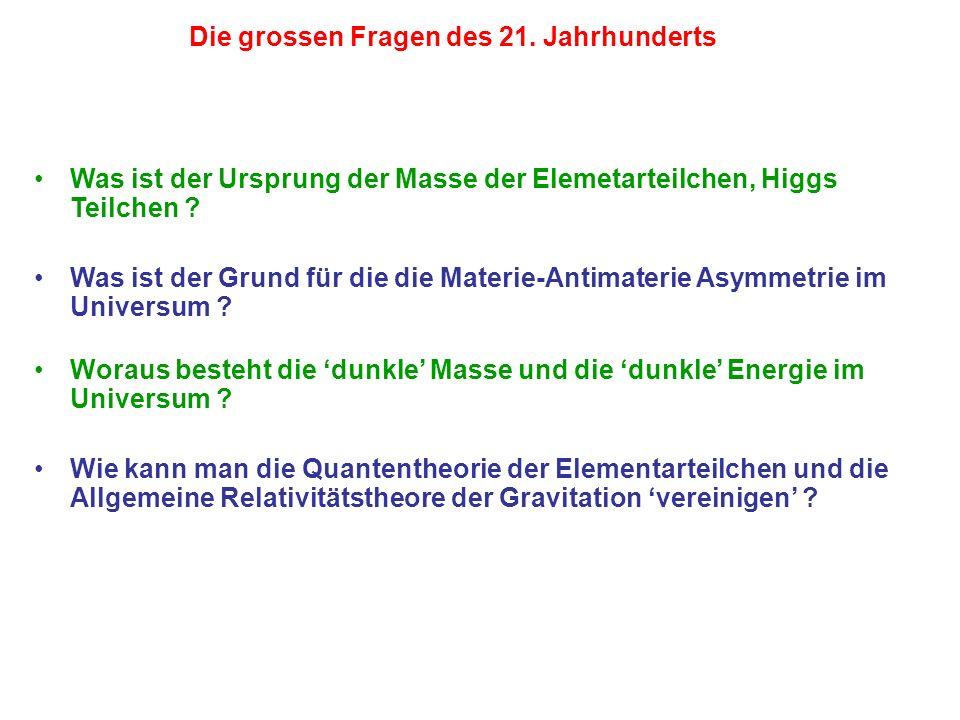 Die grossen Fragen des 21. Jahrhunderts Was ist der Ursprung der Masse der Elemetarteilchen, Higgs Teilchen ? Was ist der Grund für die die Materie-An