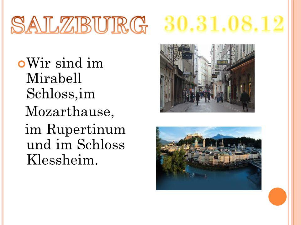 Wir sind im Mirabell Schloss,im Mozarthause, im Rupertinum und im Schloss Klessheim.