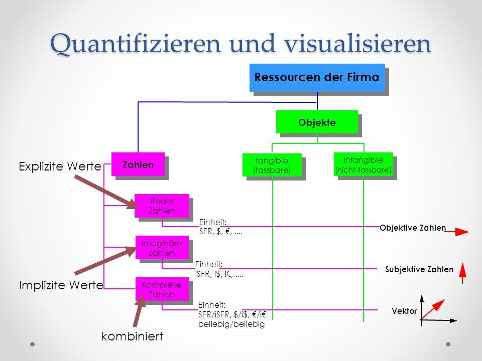 Ressourcen der Firma Objekte Zahlen tangible (fassbare) intangible (nicht-fassbare ) Reale Zahlen Einheit: SFR, $,,....