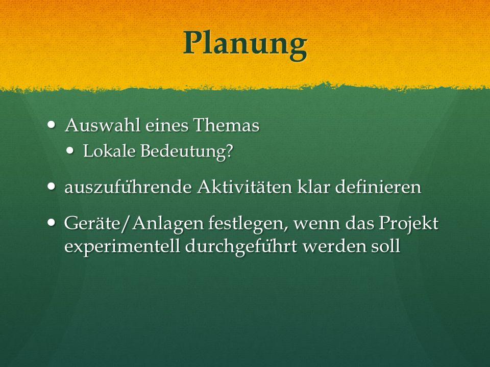 Planung Auswahl eines Themas Auswahl eines Themas Lokale Bedeutung.
