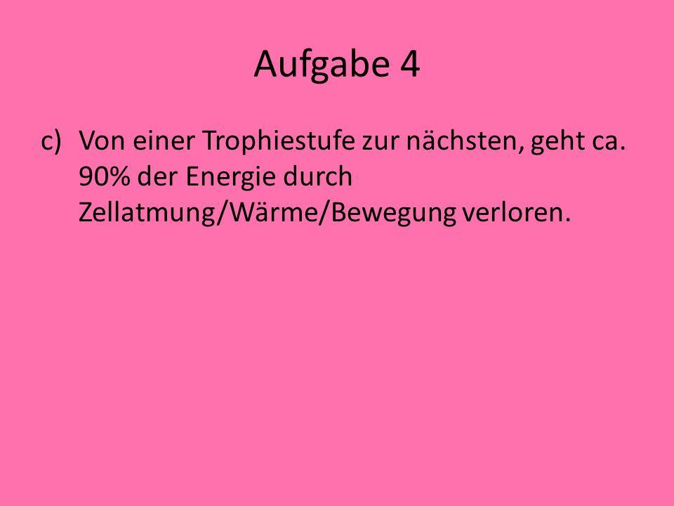 Aufgabe 4 a)(i): Kieselalge (ii):Forelle b)Energiefluss: Energie kann nicht wieder verwertet werden. Es ist kein Kreislauf, sondern ein Fluss. Quelle: