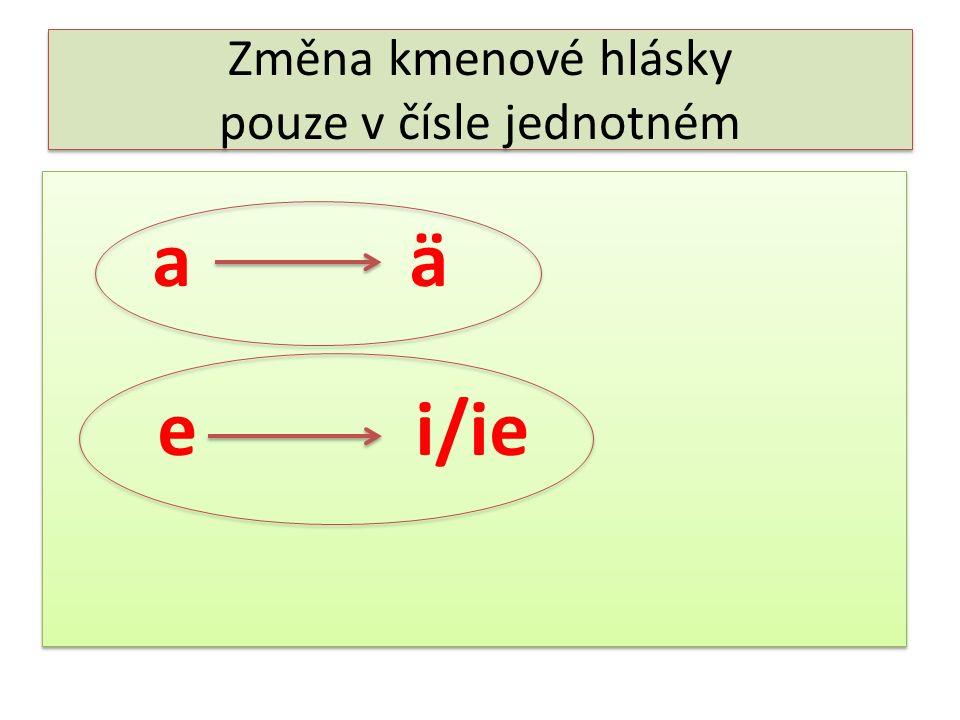 Změna kmenové hlásky pouze v čísle jednotném a ä e i/ie a ä e i/ie