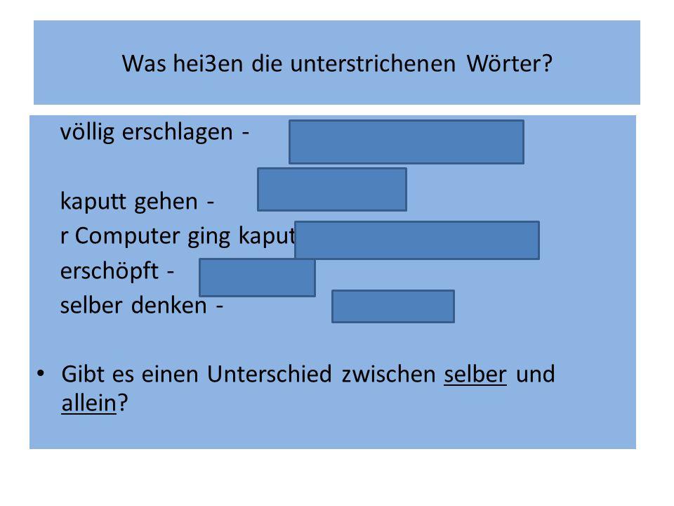 Was hei3en die unterstrichenen Wörter? völlig erschlagen - úplně zničený, dobitý kaputt gehen - rozbít se r Computer ging kaputt - počítač se rozbil e