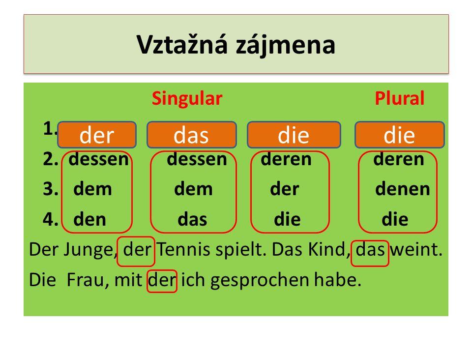 Vztažná zájmena Singular Plural 1. 2. dessen dessen deren deren 3. dem dem der denen 4. den das die die Der Junge, der Tennis spielt. Das Kind, das we