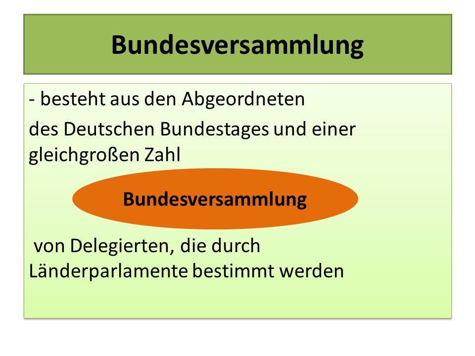 Bundesversammlung - besteht aus den Abgeordneten des Deutschen Bundestages und einer gleichgroßen Zahl von Delegierten, die durch Länderparlamente bes