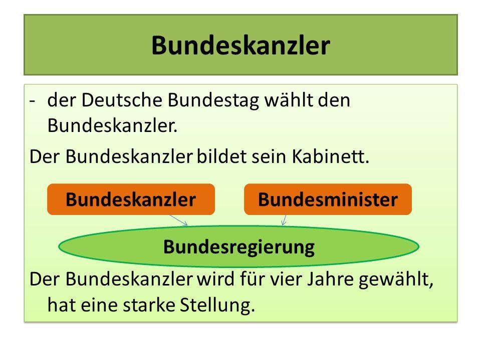 Bundeskanzler -der Deutsche Bundestag wählt den Bundeskanzler. Der Bundeskanzler bildet sein Kabinett. Der Bundeskanzler wird für vier Jahre gewählt,