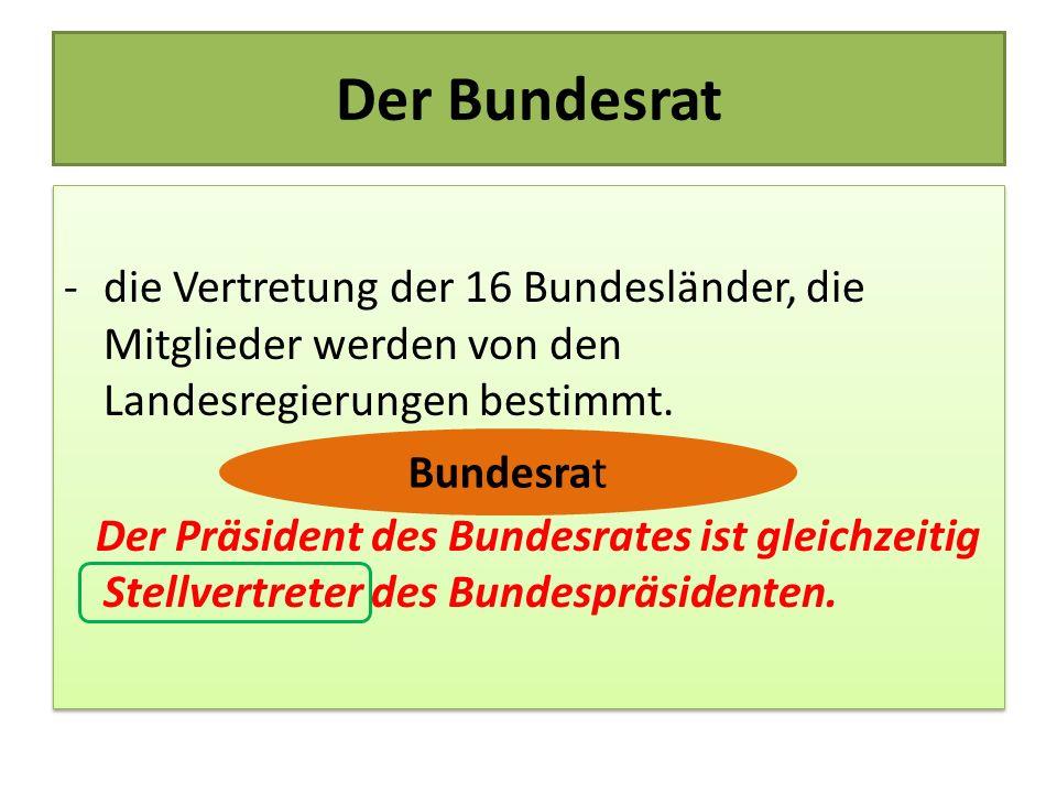 Der Bundesrat -die Vertretung der 16 Bundesländer, die Mitglieder werden von den Landesregierungen bestimmt. Der Präsident des Bundesrates ist gleichz
