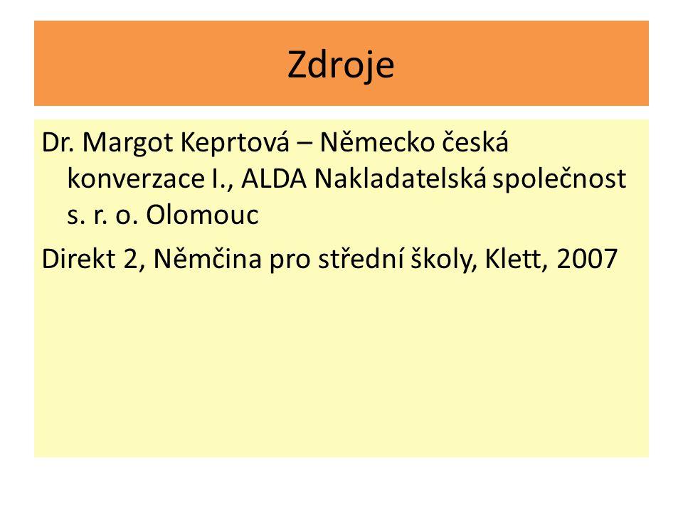 Zdroje Dr. Margot Keprtová – Německo česká konverzace I., ALDA Nakladatelská společnost s.
