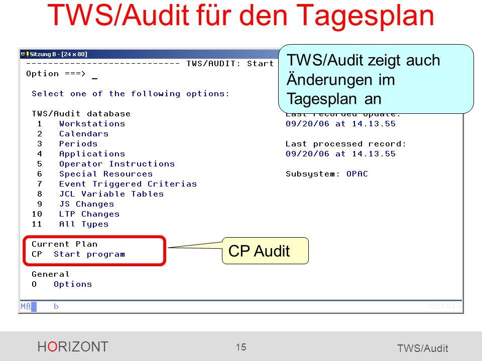 HORIZONT 15 TWS/Audit TWS/Audit für den Tagesplan CP Audit TWS/Audit zeigt auch Änderungen im Tagesplan an