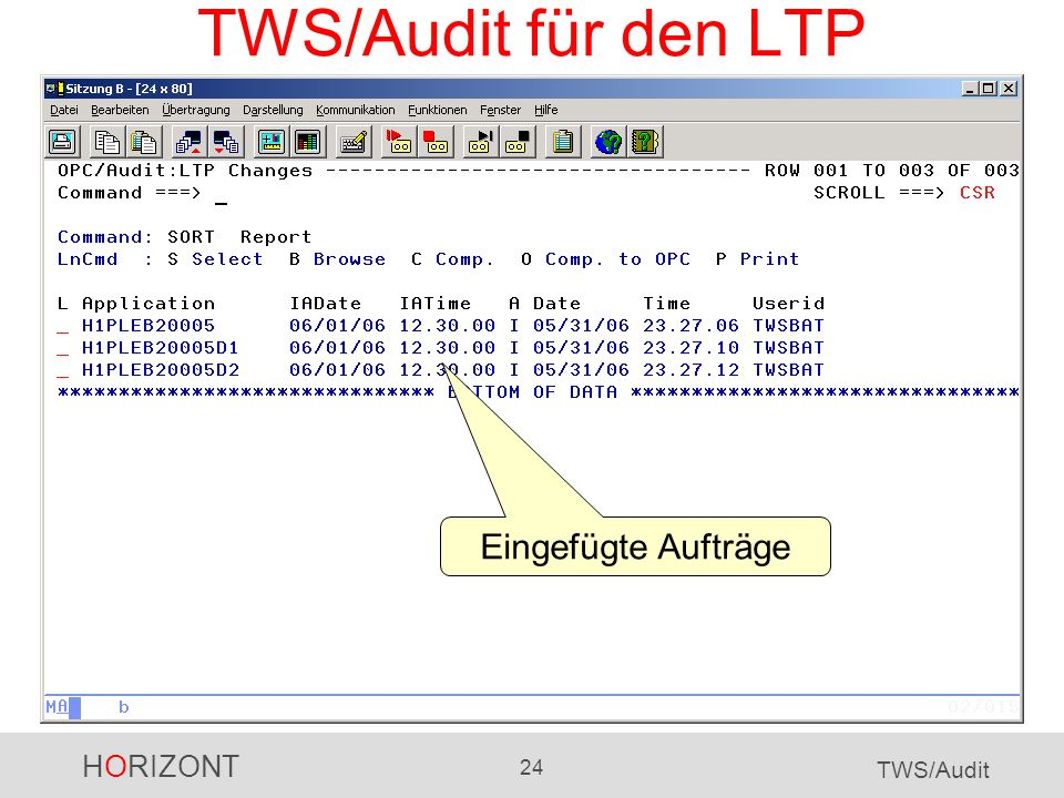 HORIZONT 24 TWS/Audit TWS/Audit für den LTP Eingefügte Aufträge