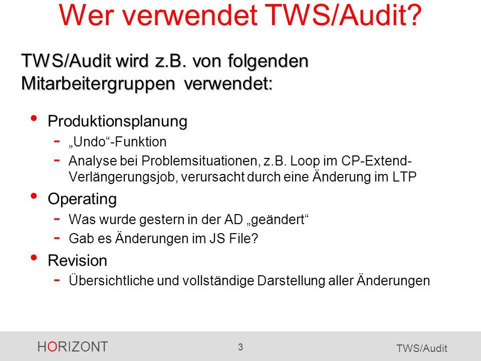 HORIZONT 4 TWS/Audit TWS/Audit - Datenobjekte TWS/Audit protokolliert automatisch alle Änderungen an folgenden Objekten: Definitionsdaten - Auftragsbeschreibungen (Application Descriptions) - Funktionsstellen (Workstations) - Kalender - Perioden - Spezielle Ressourcen - ETT - Arbeitsanweisungen (Operator Instructions) - Variablen Tagesplan (Current Plan) Langzeitplan (Long Term Plan) JS-Datei (JCL des CP)