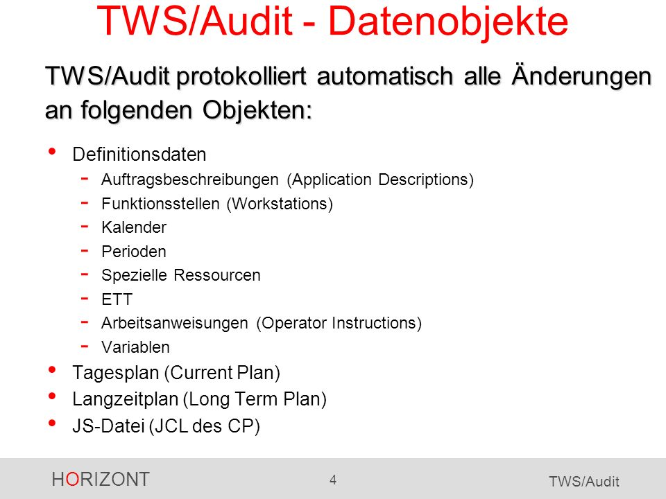 HORIZONT 25 TWS/Audit TWS/Audit für den LTP Der Auftrag wurde manuell eingefügt (ISPF Dialog) Userid und Änderungszeitpunkt Auftragsname etc.