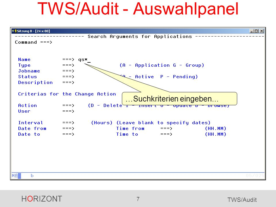 HORIZONT 18 TWS/Audit TWS/Audit für das JS-File Suchkriterien