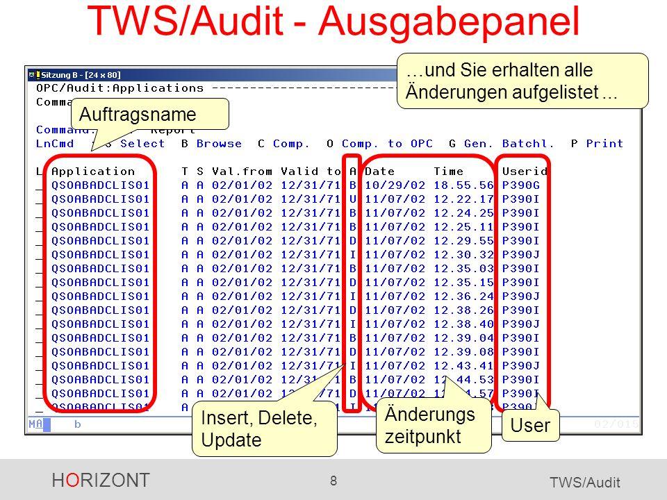 HORIZONT 29 TWS/Audit EQQAUDIT - Reporting EQQAUDIT wurde für TWS-Spezialisten zur Fehlersuche entwickelt.