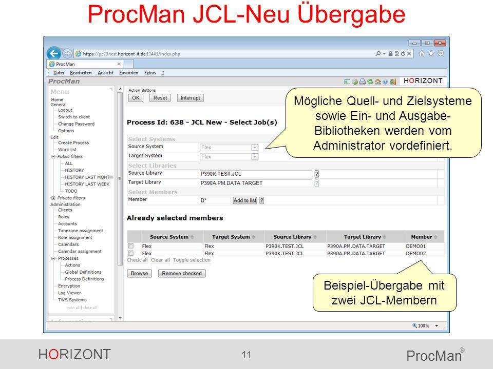 HORIZONT 11 ProcMan ® ProcMan JCL-Neu Übergabe Mögliche Quell- und Zielsysteme sowie Ein- und Ausgabe- Bibliotheken werden vom Administrator vordefini